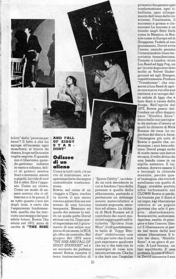 david bowie 1976 articolo stampa italiana