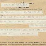 telegramma Bowie a Monsummano Terme 1969