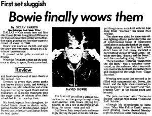 David Bowie Dallas 1978